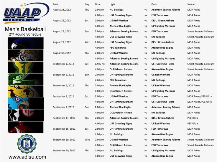 UAAP Season 75 Men's Basketball 2nd Round Schedule