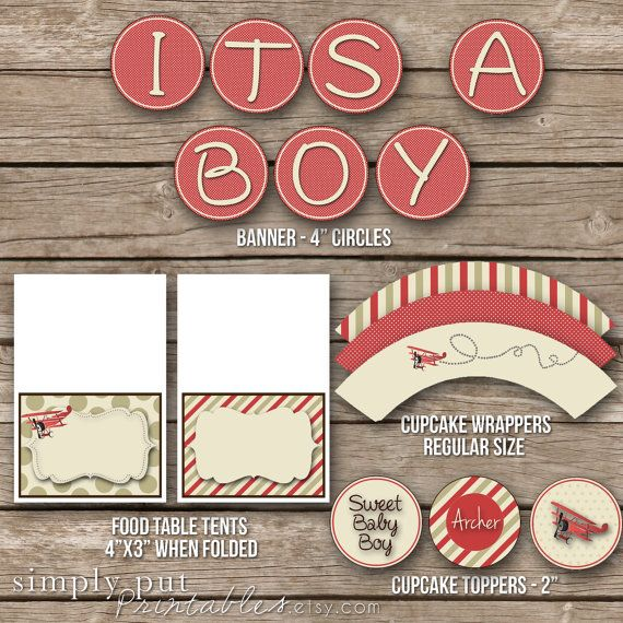 Baby Boy Shower Party Package Vintage Airplane Shower - Printable Dig…