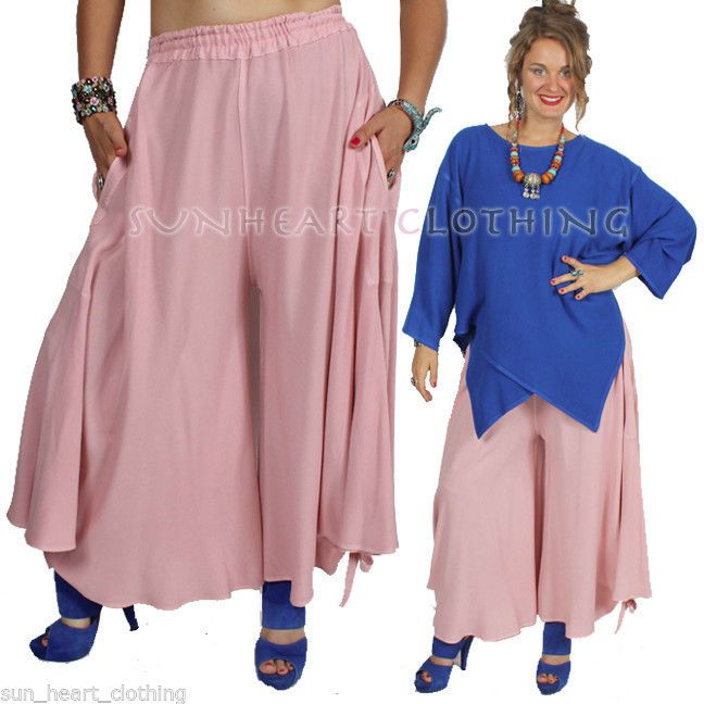 MOROCCAN COTTON URBAN BOHO LAGENLOOK PINK RAY SKORT PANTS SML-MED-XL