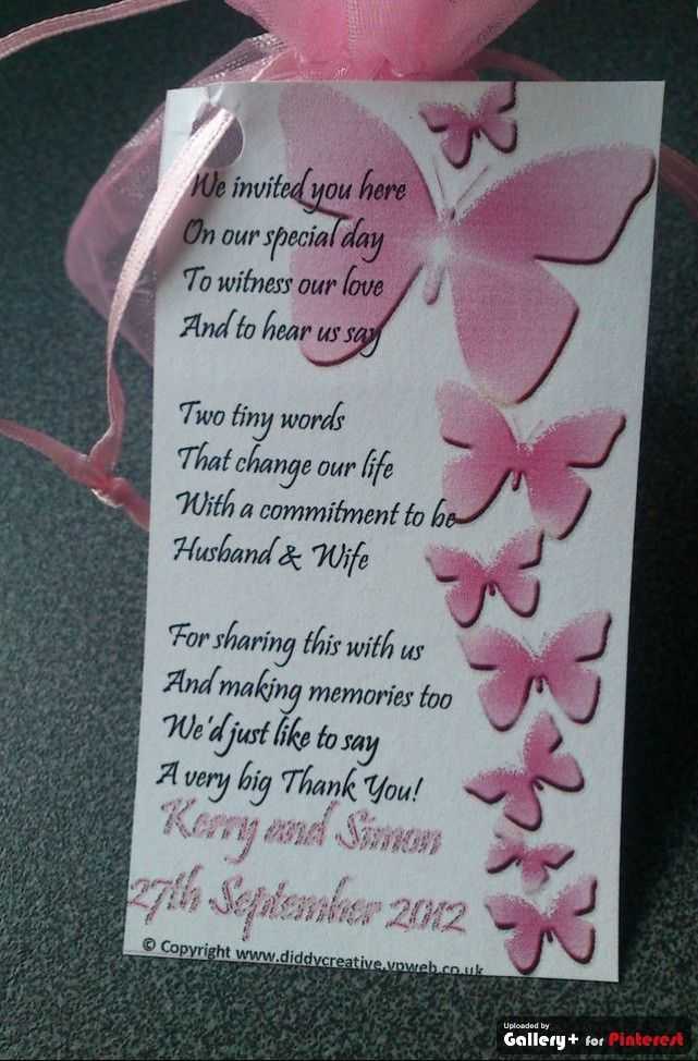 Short Poems For Wedding Gifts : wedding Favor tags with thank you poem and pink butterflies ...