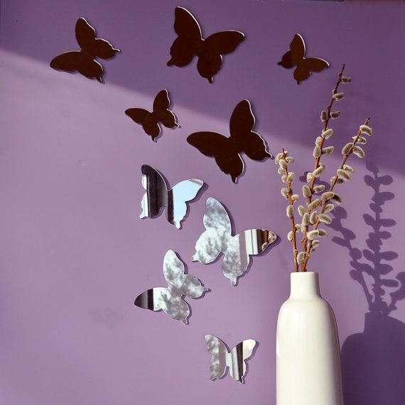 Butterfly Mirror Wall Decoration : Mirror butterfly wall decor set of silhouettes