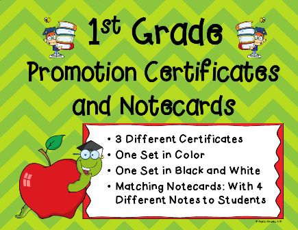 First Grade Promotion Certificates And Notecards