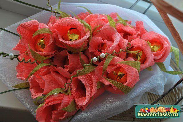 Букеты цветов из конфет мастер класс с пошаговым