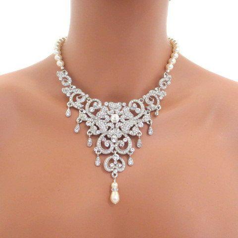 Bridal Statement Necklace Wedding Jewelry Rhinestone Necklace Pear