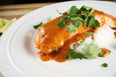 Red curry salmon with steamed rice and garlicky bok choy