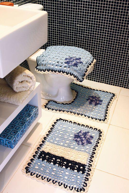 Kit de banheiro de crochê | tapetes - banheiro | Pinterest