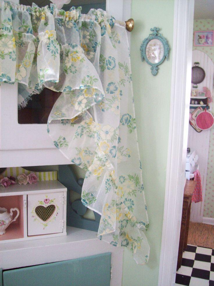 Vintage cottage curtains kitchen aqua