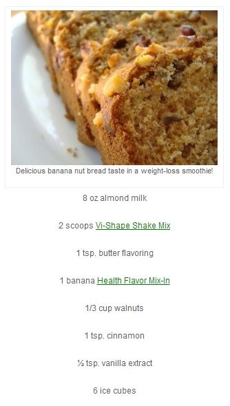 Banana Nut Bread Shake   Vi Shake Recipes   Pinterest