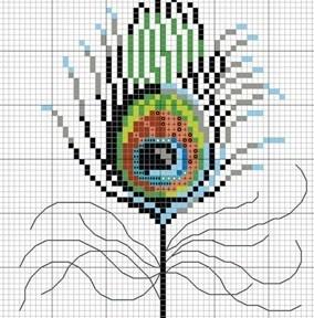 Вышивка крестом перо павлина схемы 26