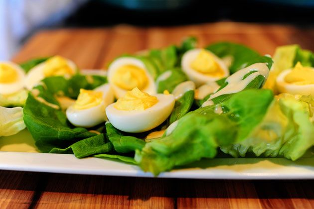 Deviled Eggs on a Nest of Butter Lettuce with Honey Mustard Dressing ...
