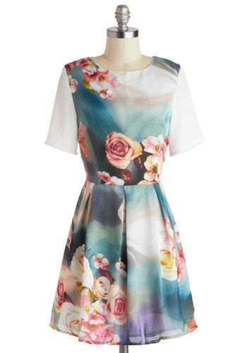 Artistic Visionary Dress - Mid-length, Multi, White, Floral, Pleats, Party, A-line, Short Sleeves, Crew, Fairytale