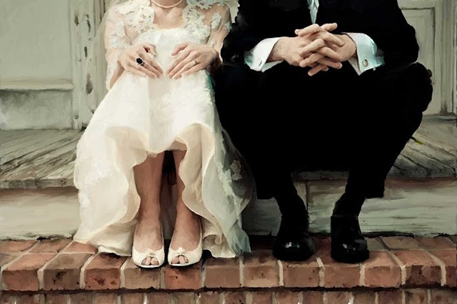 sarah darcy classic bride wedding photo painting