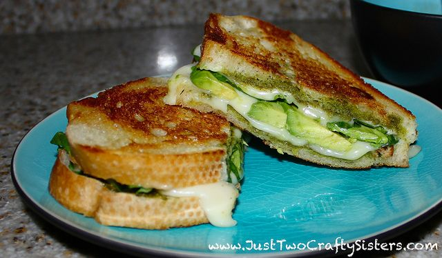 Pesto, spinach & avocado grilled cheese recipe by Just Two Crafty ...
