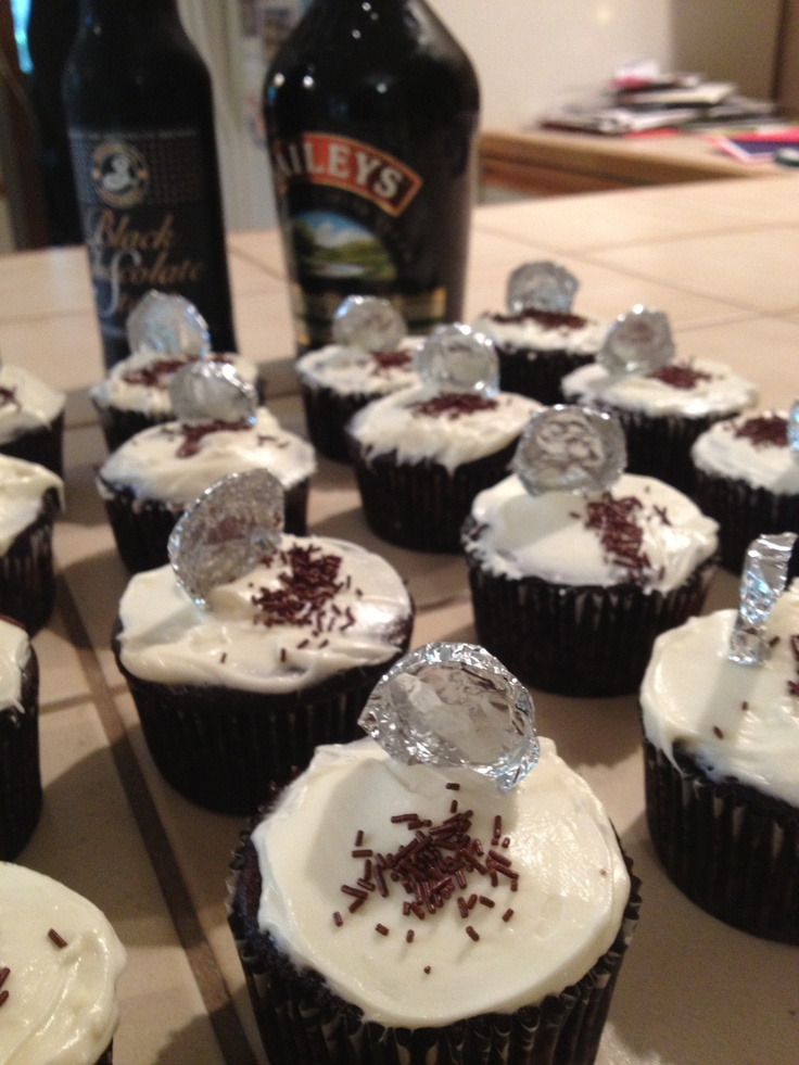 yums. chocolate stout cupcakes with bailey's irish cream frosting ...