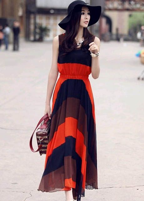 Bohemian Sexy Striped Color Block Chiffon Maxi Dresses Orange &Blue | martofchina.com-Page Cached
