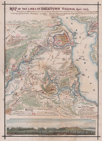 Yorktown, VA, civil war era map