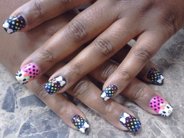 Rainbow Polka Dots  Bows  Hello Kitty w  3D Bow  Nail Art Design