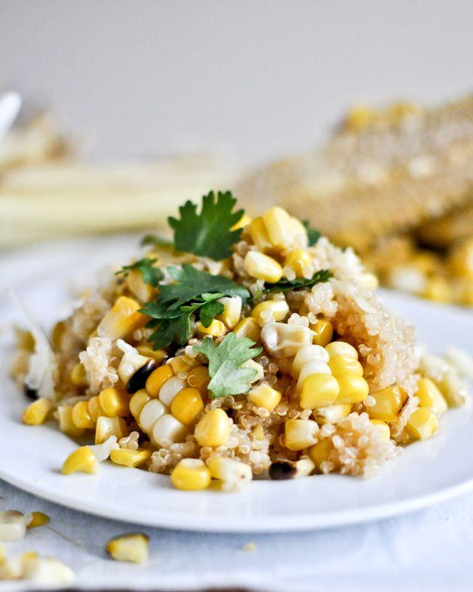 Grilled Corn + Cheddar Quinoa I howsweeteats.com