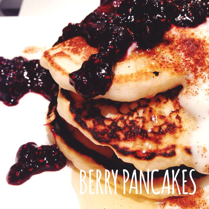 Homemade Pancakes with super easy berry sauce, greek yogurt, honey ...