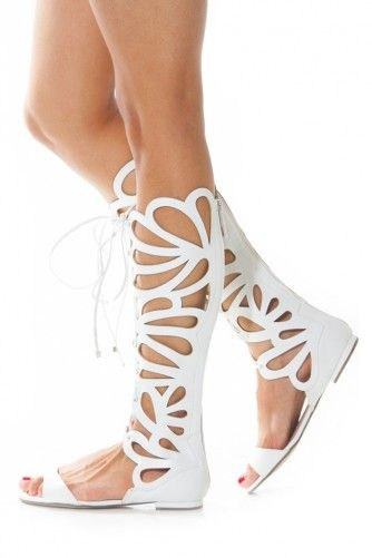Suede Cut Out Gladiator Knee High Sandal @ Cicihot Sandals Shoes