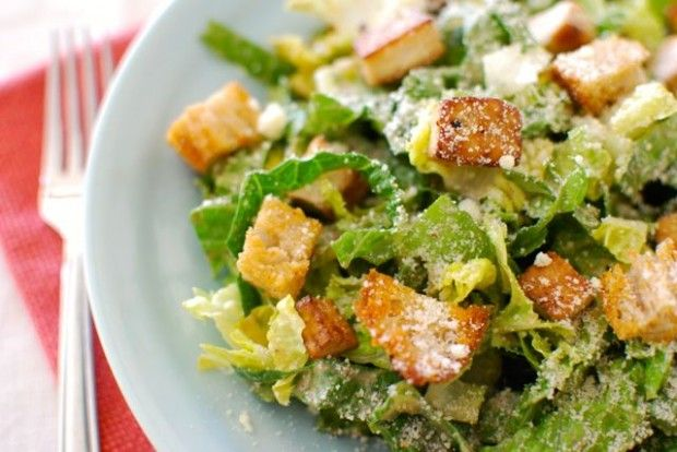 Caesar Salad with Crispy Tofu and Homemade Croutons via eating-made ...