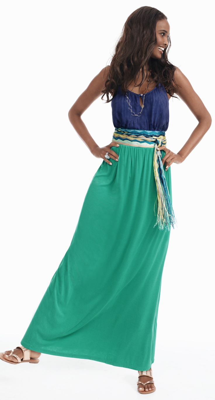A maxi skirt is the perfect way to stay covered, yet keep cool this summer. Add a patterned belt to give some flair to the outfit.
