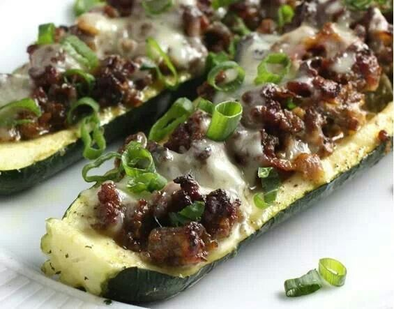 cheeseburger stuffed zucchini | Things to try | Pinterest