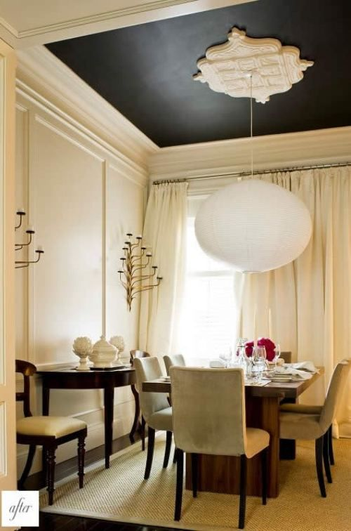 white walls --black ceiling.