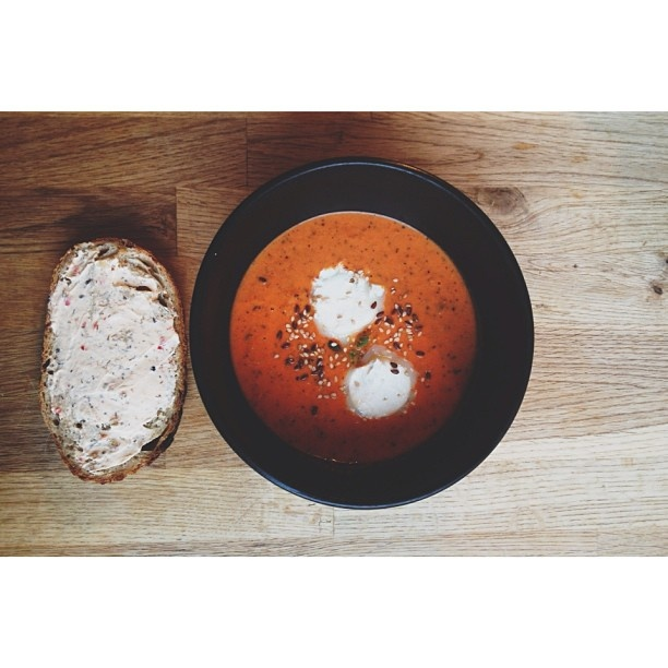 is homemade tomato soup with chèvre cheese and a slice of homemade ...