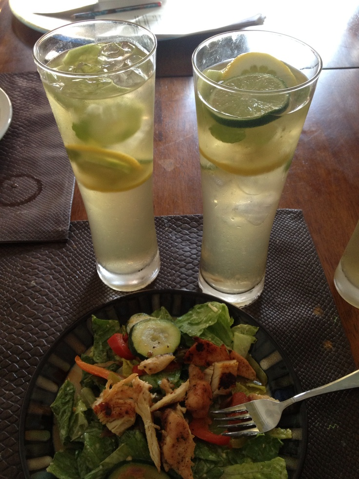 Mint, lime, lemon, cucumber, tea with fresh salad on a hot day!