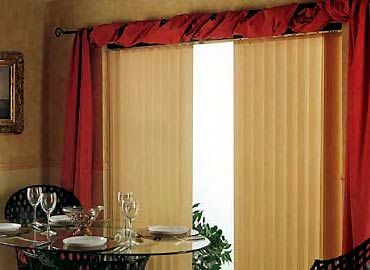 Vertical blinds and curtains together over the top for Curtains and blinds together
