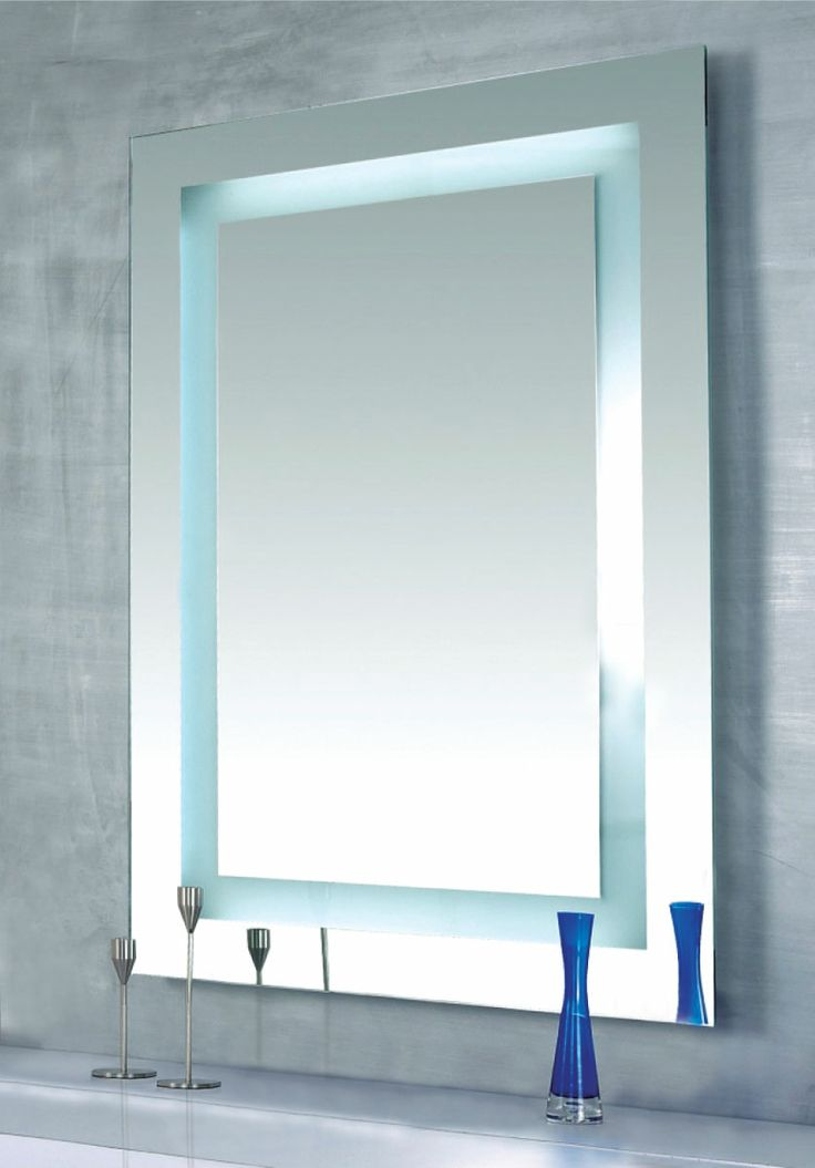 Commirror Bathroom Light : Plaza Mirror with Built-In, Dimmable Lights