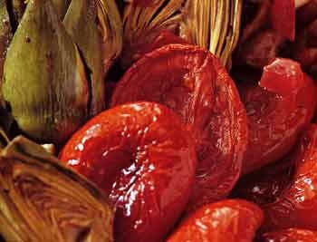 SAUTEED BABY ARTICHOKES WITH OVEN-DRIED TOMATOES AND GREEN-OLIVE ...