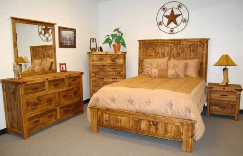 reclaimed wood rustic 5 pc bedroom set king size