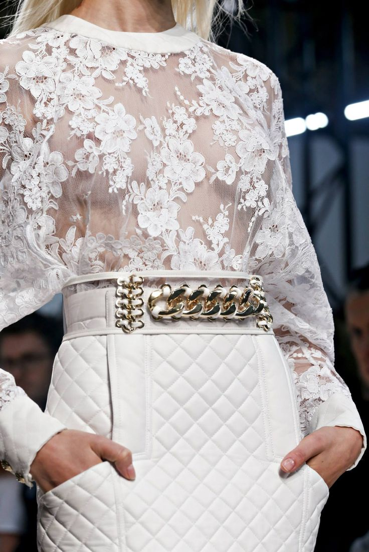 Balmain Spring 2014. White leather & lace.