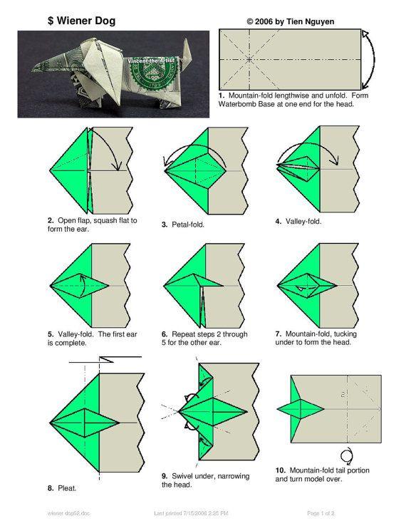 dachshund dollar origami pet dog animal made of real money