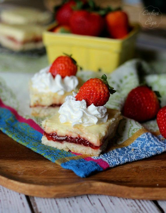 Strawberry Lemon Cheesecake Bars with Shortbread Crust