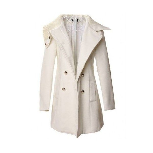 White long sleeve big lapel woolen coat ($55) ❤ liked on Polyvore