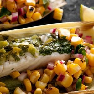 Corn-Husk-Wrapped Grilled Halibut with Charred Corn Salsa Recipe from ...