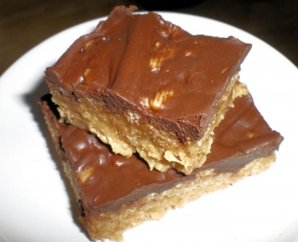 Chocolate Frosted Peanut Butter Crispy Rice Cereal Bars from Food.com ...