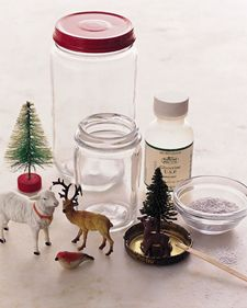 Homemade snow globes. I am totally doing this next year.