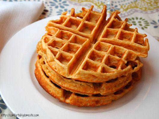 Cornmeal Buttermilk Waffles | ComfortablyDomestic.com A lightly sweet ...