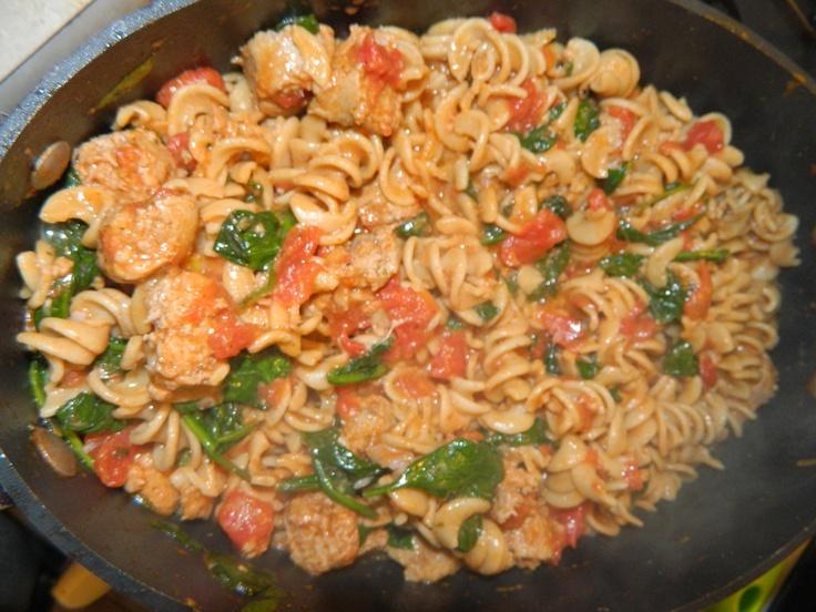 ... Italian turkey sausage (or hot italian sausage). Boil noodles al dente