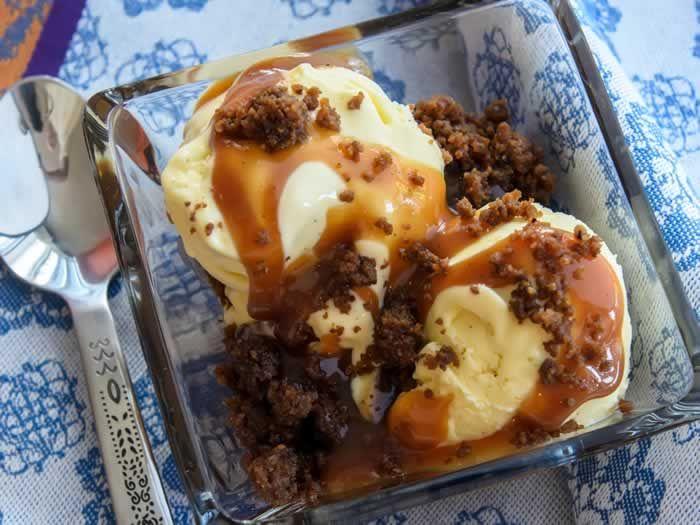 Sweet Corn & Vanilla Bean Ice Cream with Spiced Caramel Apple Sauce ...