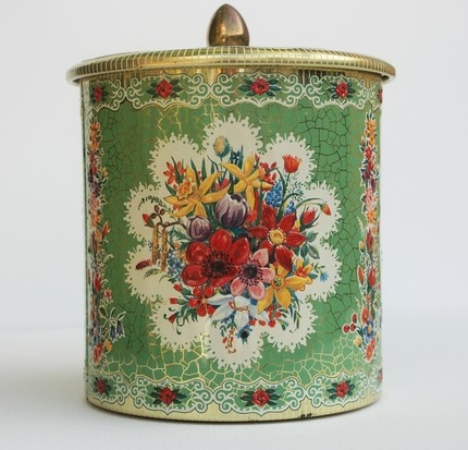 Vintage Floral Tin Canister with Lid - Daher ~ ScenicRoots