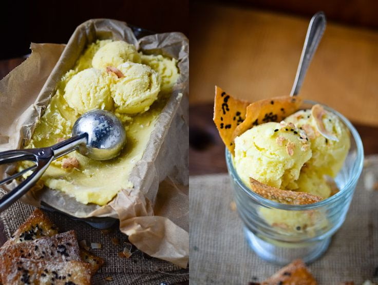 blissful eats with tina jeffers: Pina Colada Sorbet with sesame crisps