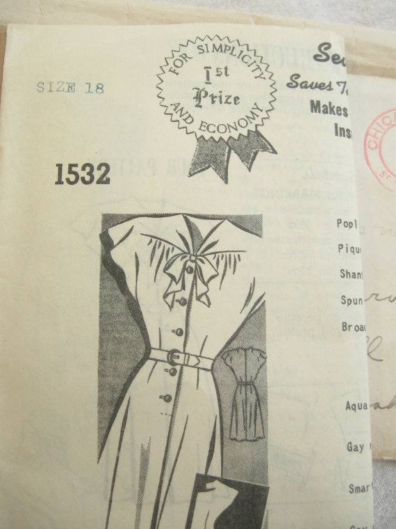 Rare Mail Order Bow Tie Dress Pattern 1450 Bust 36 by EmSewCrazy, $20.00