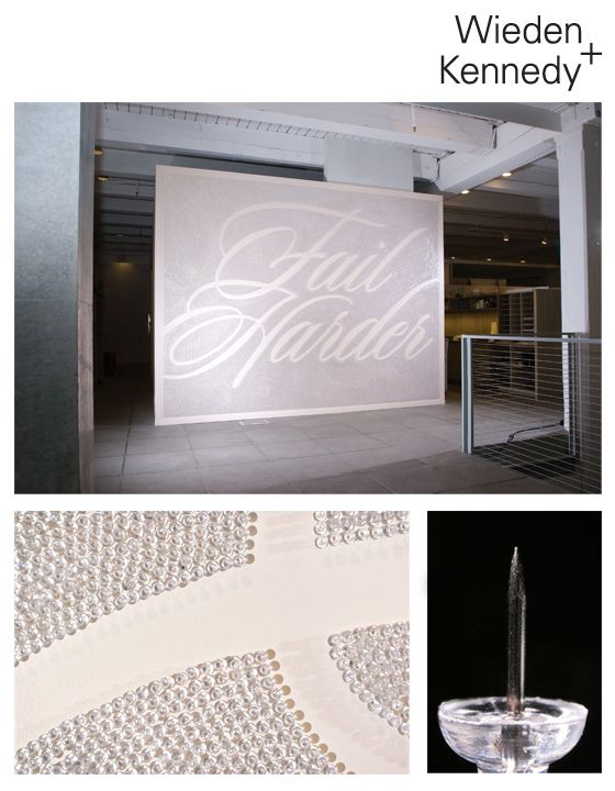 #Fail Harder - from W+K in portland made with thousands of meticulously placed push pins. So #cool #Interns