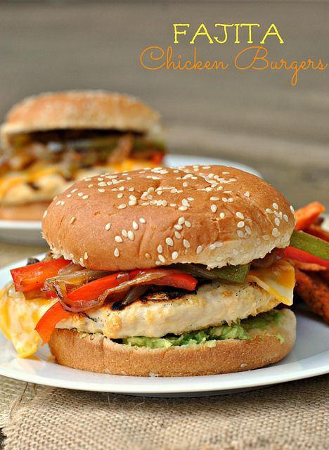 Fajita Chicken Burger! Loaded with veggies and avocado this is a great ...