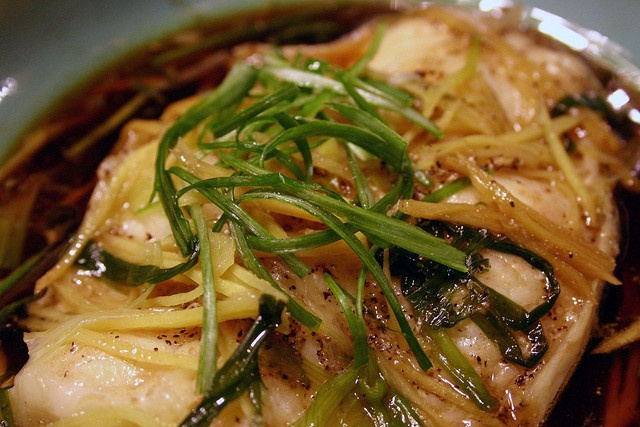 Steamed Sea Bass with Ginger & Green Onions